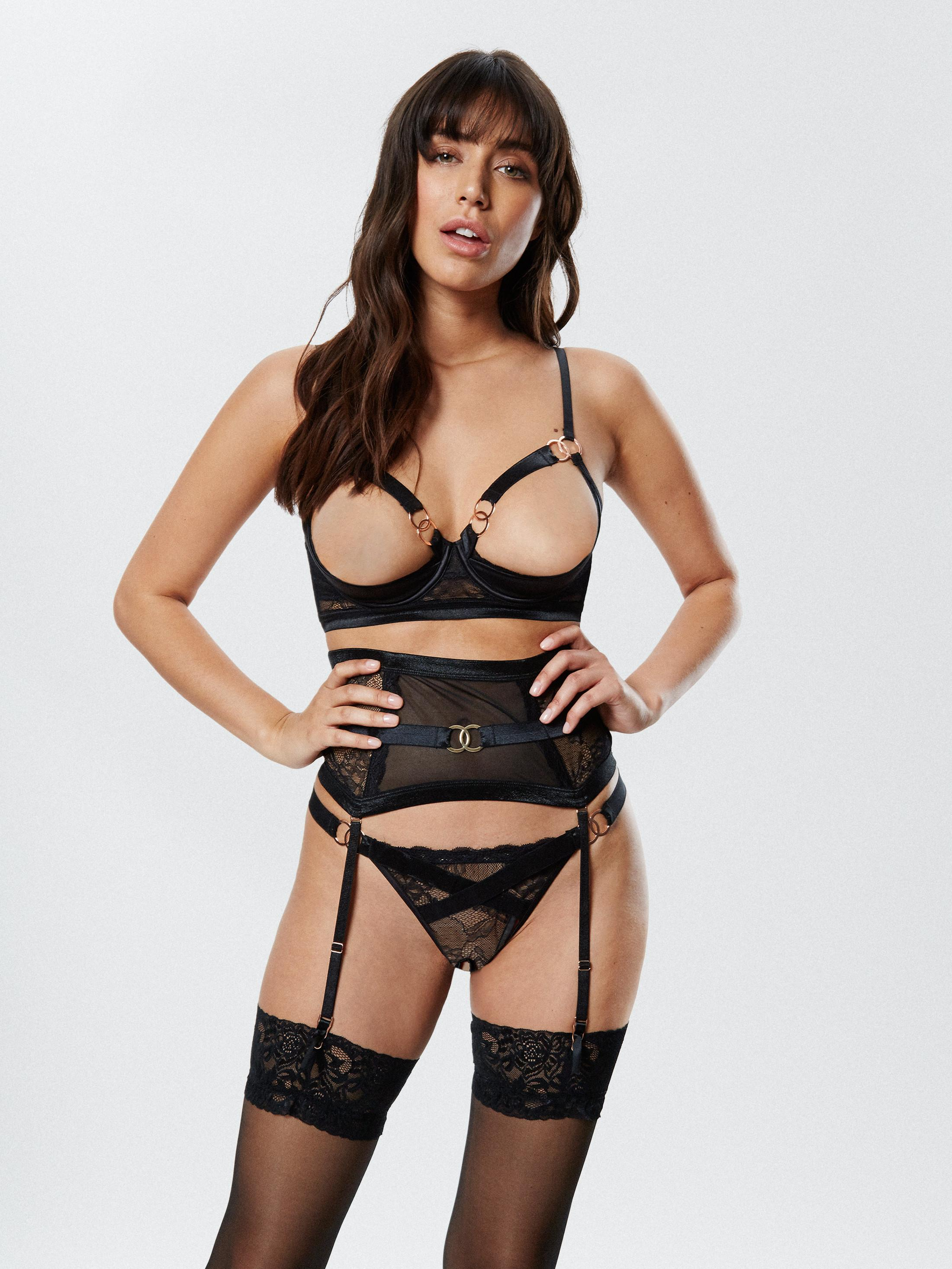 13eb7ab669 Ann Summers Womens Elisa Bra Harness Satin Cut-Out Cups Sexy Lingerie  Underwear