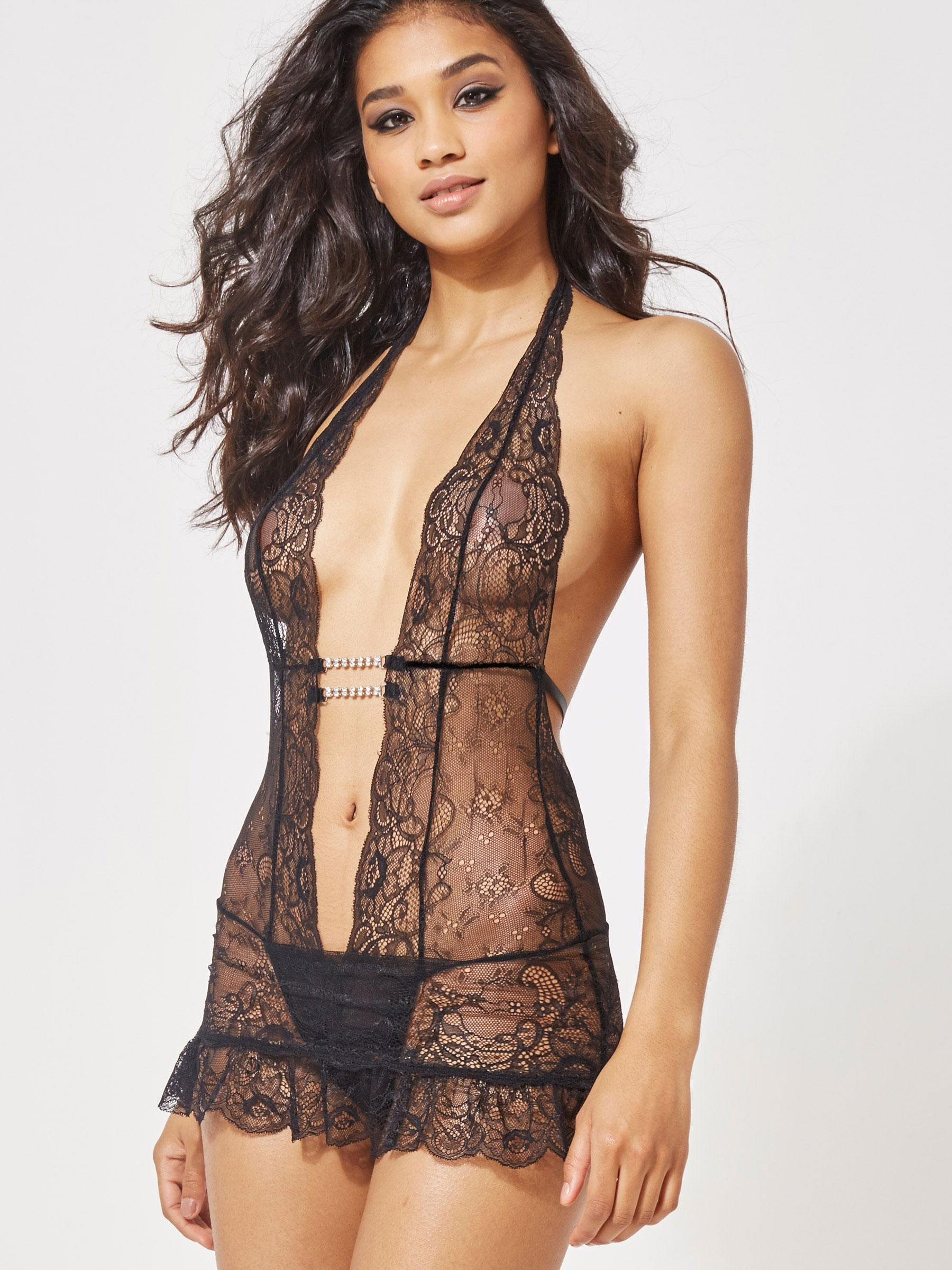 Ann Summers Womens Marydoll New Black Lace Body Sexy Lingerie Nightwear  Bodysuit 4348298af