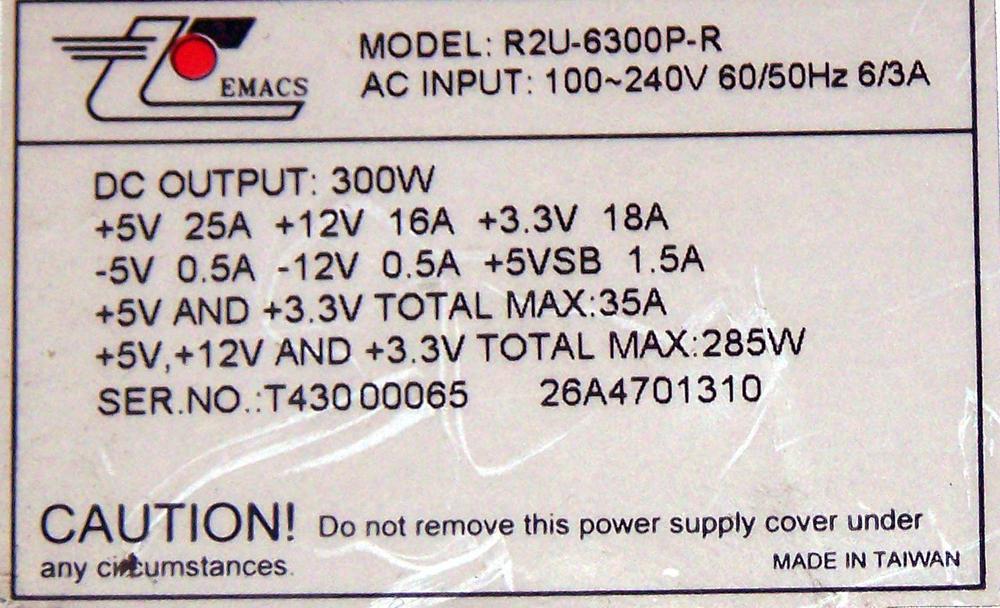 Miranda MWA-PSU Kaleido K2 R2U-6300P-R 300W Power Supply Thumbnail 2
