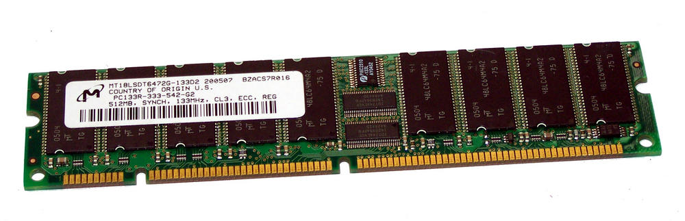 Micron MT18LSDT6472G-133D2 512MB PC133 CL3 ECC Registered Server 168-Pin DIMM
