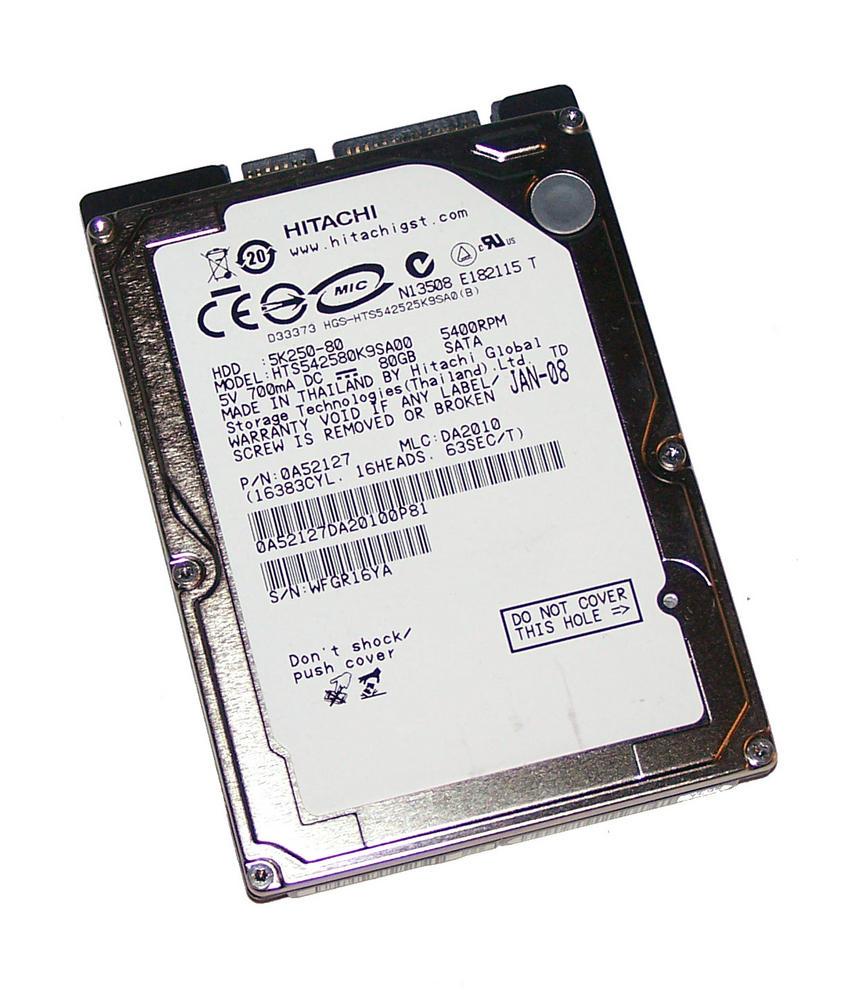 "Hitachi 0A52127 80GB 5.4K 2.5"" SATA HDD | MLC DA2010 Travelstar 5K250-80 0A54296"