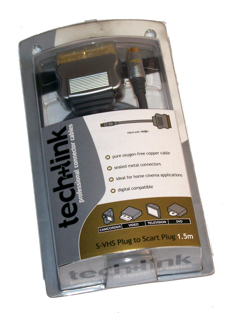 New Techlink 680160 1.5M OFC Copper S-VHS plig to SCART plug Cable