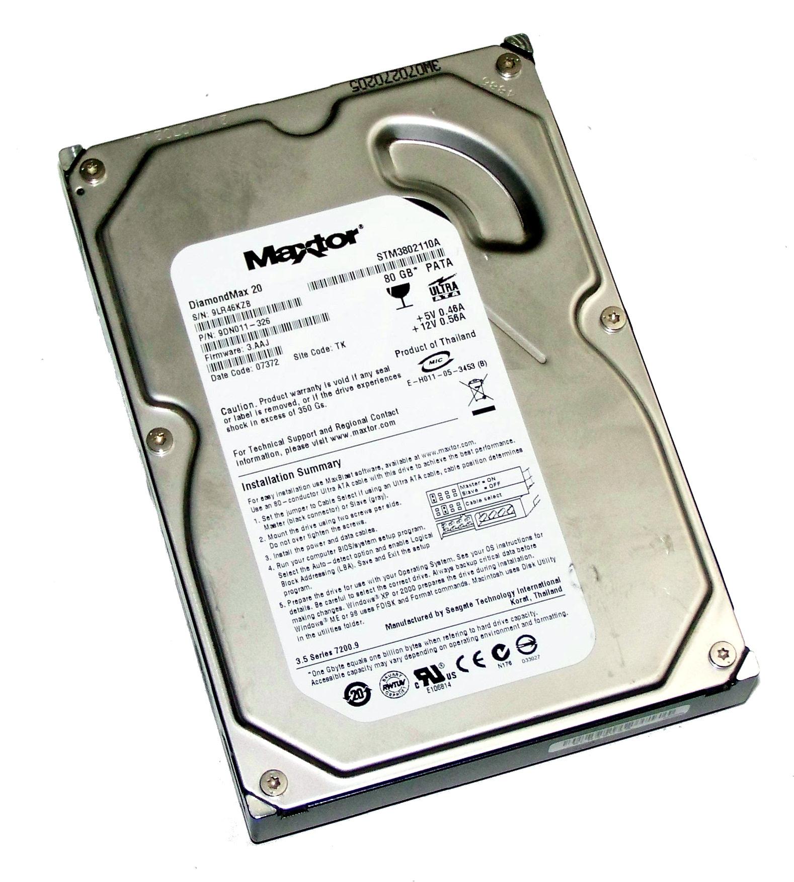MAXTOR STM3802110A 9DN011-326 80GB IDE HARD DRIVE