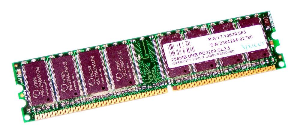 Apacer 77.10639.565 (256MB DDR PC3200U 400MHz CL2.5 DIMM 184-pin) Memory