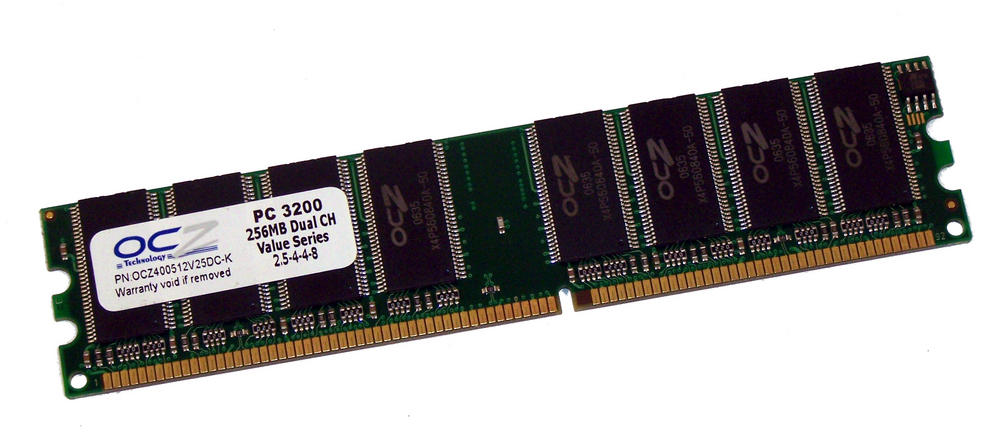 OCZ OCZ400512V25DC-K (256MB DDR PC3200U 400MHz DIMM 184-pin) Memory Module