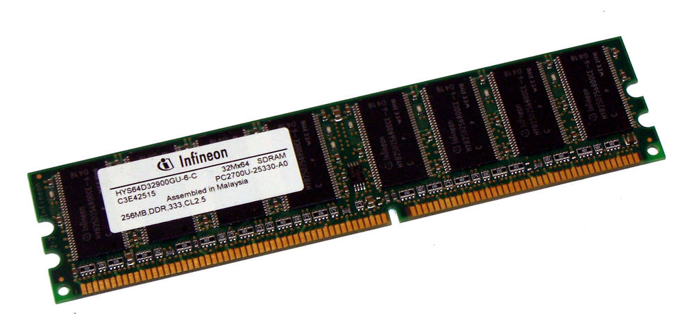 Infineon HYS64D32900GU-6-C (256MB DDR PC2700U 333MHz DIMM 184-pin) Memory Thumbnail 1