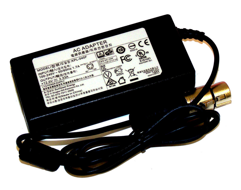 Sunflower Energy KPL-040F 12VDC 3.33A 40W AC Adapter with 4-Pin DIN Thumbnail 1