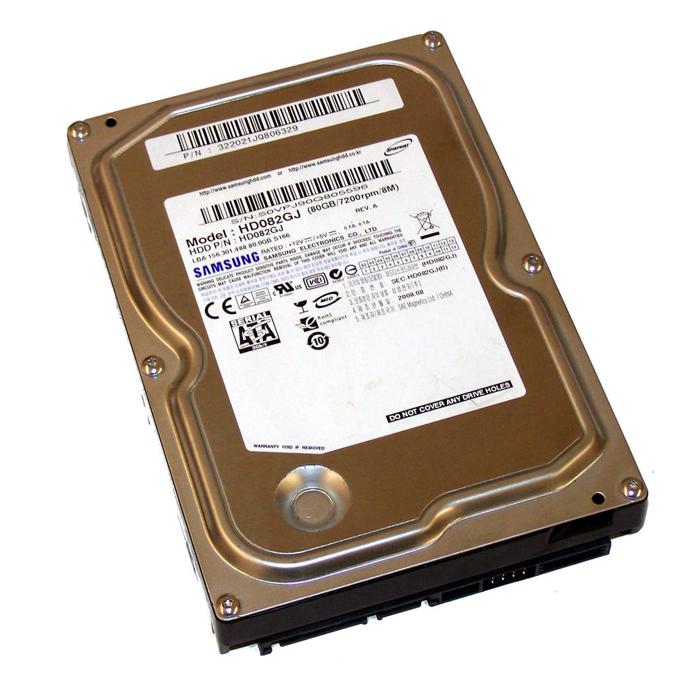 "Samsung HD082GJ 80GB 7.2K 3.5"" SATA Hard Disk Drive   Revision A China RoHS"