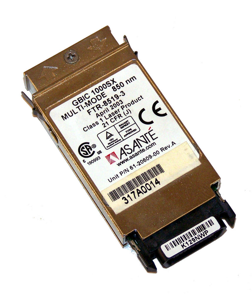 Asante 61-20609-00 FTR-8519-3 1000BASE-SX 850nm GBIC Transceiver