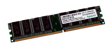 Apacer 77.10639.53G (256MB DDR PC3200U 400MHz CL2.5 DIMM 184-pin) Memory