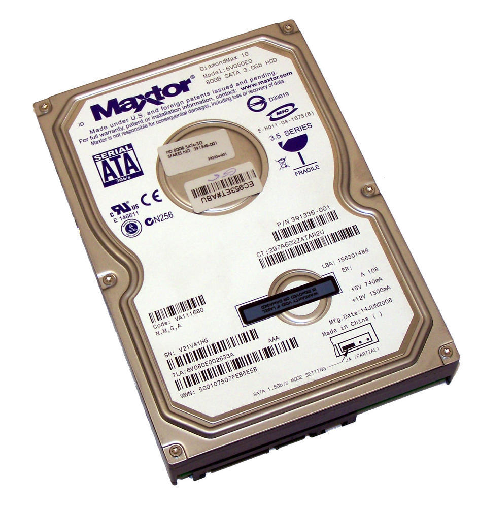 "HP 391336-001 Maxtor 6V080E0 80GB 7.2K 3.5"" SATA HDD 