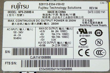 Fujitsu S26113-E554-V50-02 Esprimo E400 E85+ SFF 250W Power Supply | DPS-250MB A Thumbnail 2