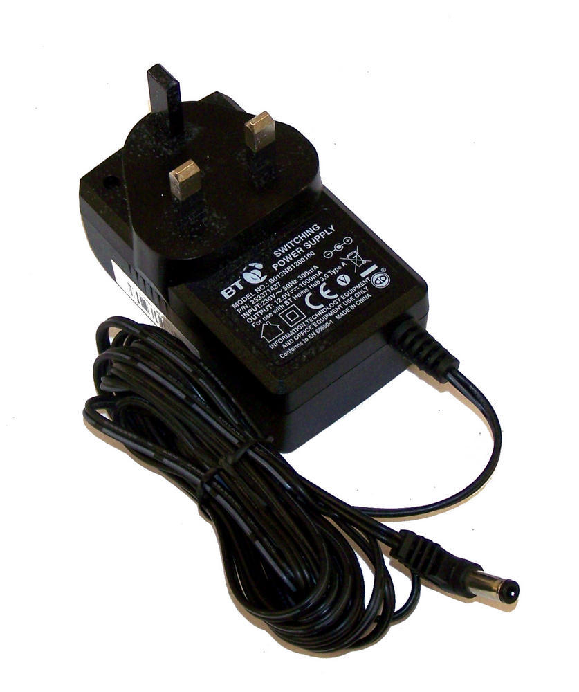 BT 253371437 12VDC 1A UK AC Adapter with Barrel Connector | S012NB1200100 Thumbnail 1
