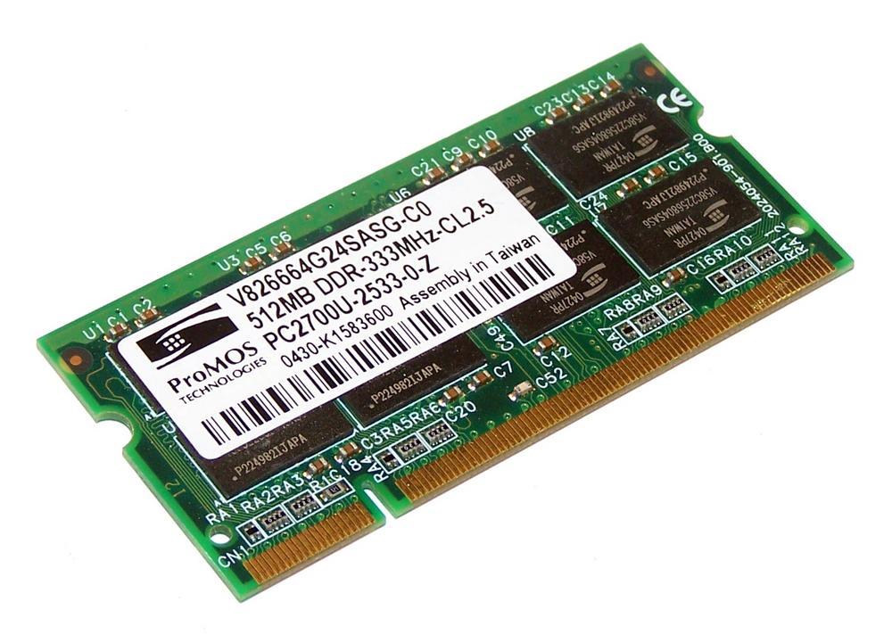 ProMOS V826664G24SASG-C0 (512MB DDR PC2700S 333MHz SO DIMM 200-pin) Memory