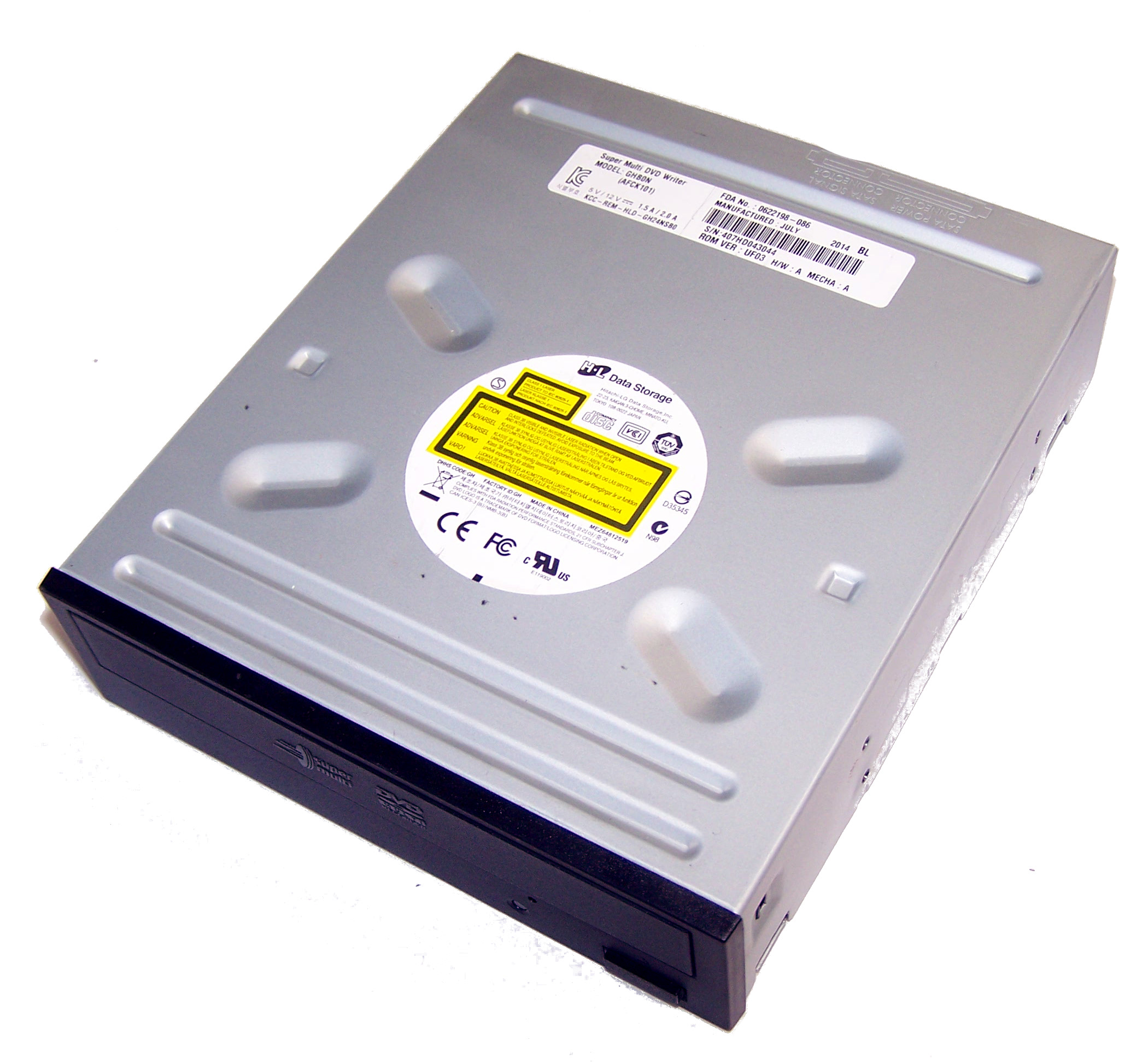 HL Data GHB0N GH24NSB0 SATA H/H DVD-RW Recorder Drive | Black Bezel Thumbnail 1