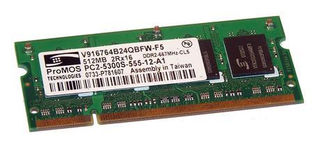 ProMOS V916764B24QBFW-F5 (512MB DDR2 PC2-5300S 667MHz SO DIMM 200-pin) Memory