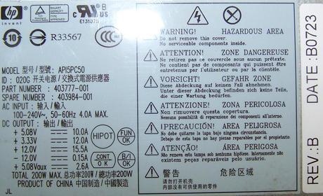 HP 403777-001 dc7700 USDT Ultra Slim 200W Power Supply | SPS 403984-001 API5PC50 Thumbnail 2