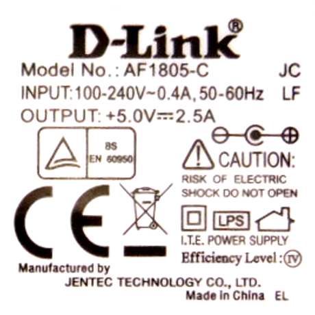 D-Link AF1805-C 5VDC 2.5A 12W UK AC Adapter with Barrel Connector Thumbnail 2