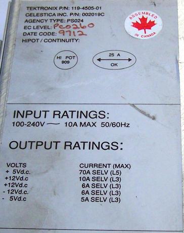 Tektronix 119-4505-01 PDR100  Power Supply  | Celestica 002019C Thumbnail 2
