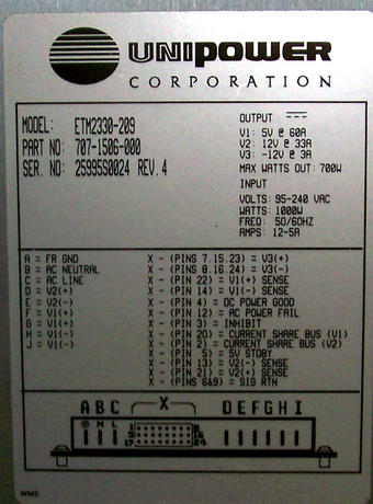 UniPower 707-1506-000 Rev 4 700W ETM2330-209 Power Supply Thumbnail 2
