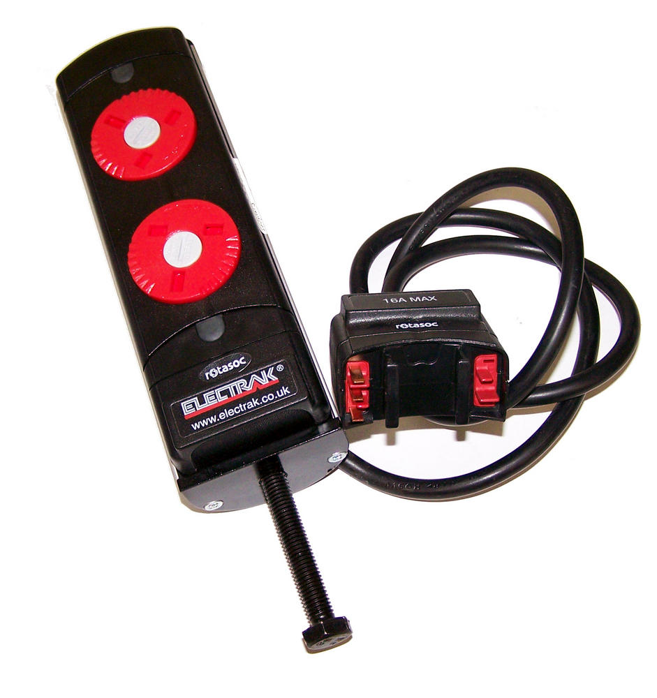 Legrand RAL012 Electrak 2 Gang Desk Mount Rotasoc Module | Rotatable Red