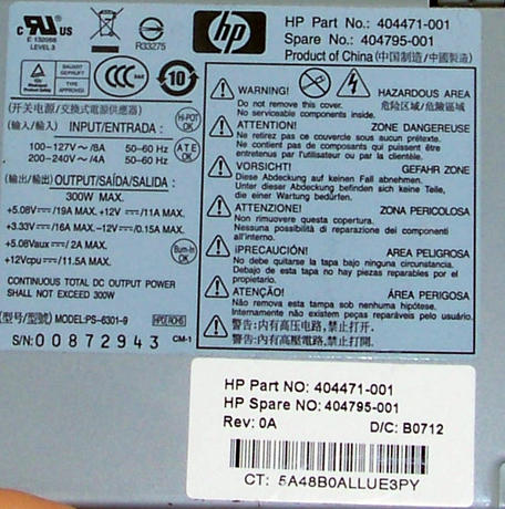 HP 404471-001 dc5700 MT Micro Tower 300W Power Supply | SPS 404795-001 PS-6301-9 Thumbnail 2