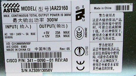 Cisco 341-0090-01 3845 300W AC Power Supply [Astec AA23160] Thumbnail 2