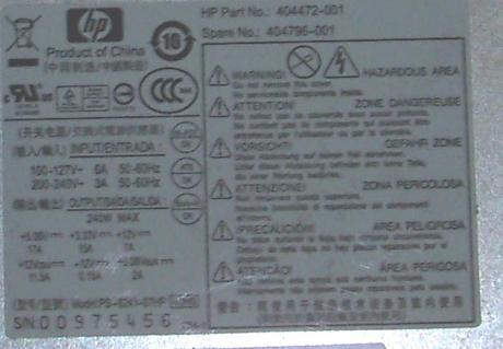 HP 404472-001 dc5700 dc5750 SFF 240W PFC PSU | PS-6241-07HP SPS 404796-001 Thumbnail 2