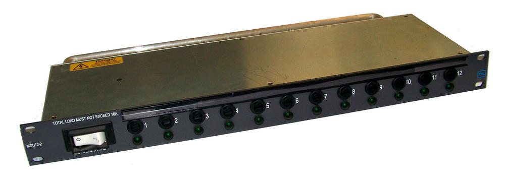 TSL MDU12-2 12-Way 5A Individually Fused 1U 16A Rack Mounted PDU