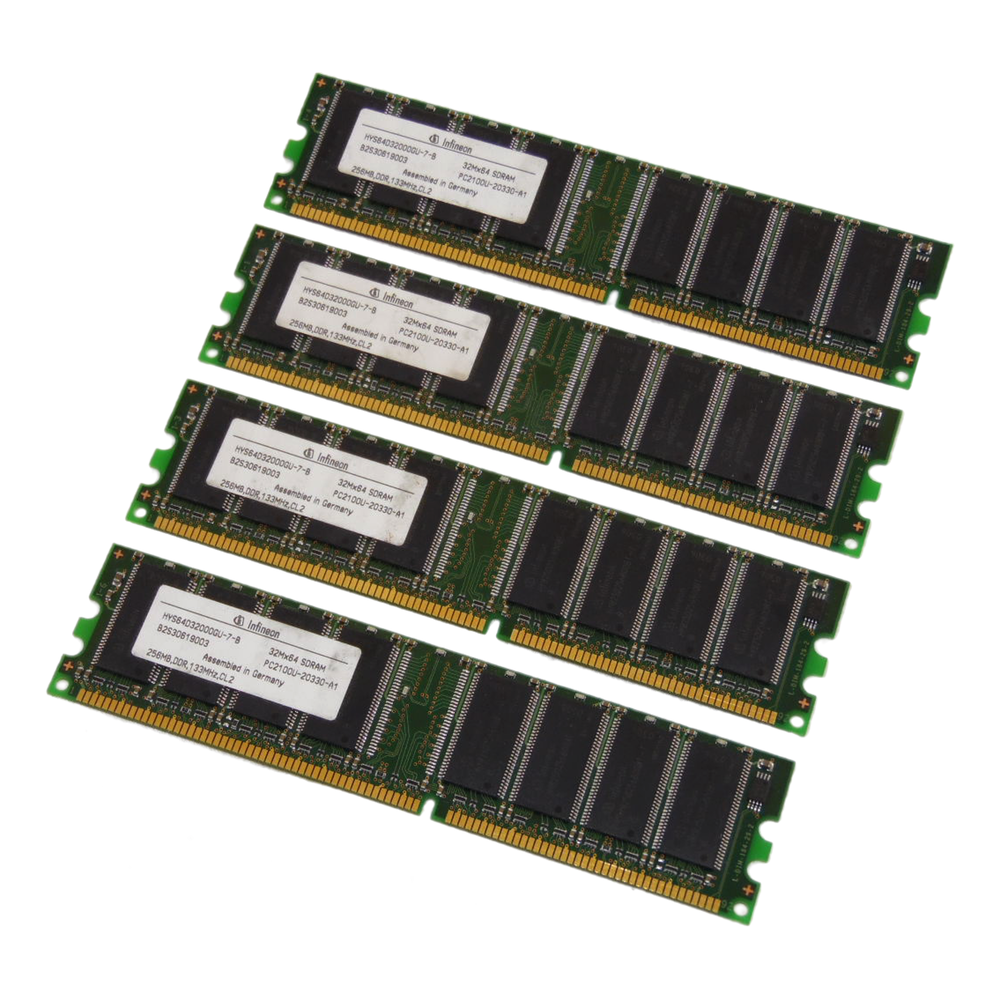 Infineon HYS64D32000GU-7-B 1GB Kit (4 x 256MB) PC2100U 184-Pin DDR Desktop RAM