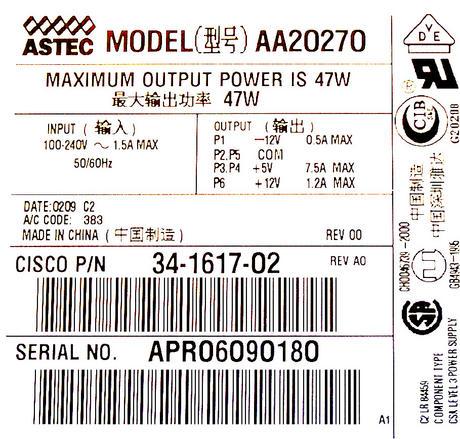 Cisco 34-1617-02 2600 PIX-515 47W AC Power Supply | Astec AA20270 PWR-2600-AC= Thumbnail 2