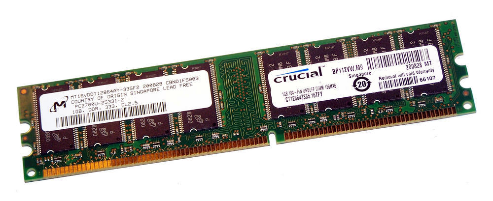 Crucial CT12864Z335.16TFY (1GB DDR PC2700U 333MHz 184-pin DIMM) Memory Module