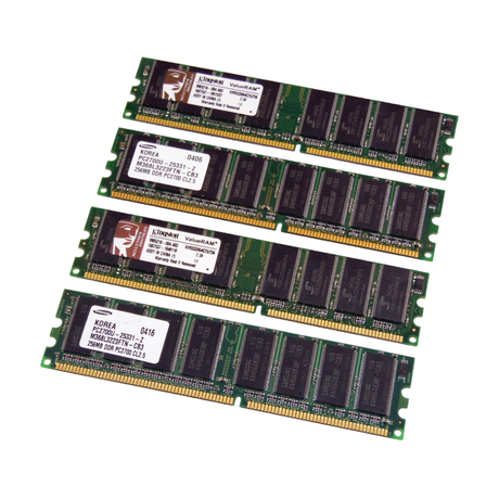 Assorted 1GB Kit (4 x 256MB) PC2700 333MHz 184-Pin DDR Desktop RAM