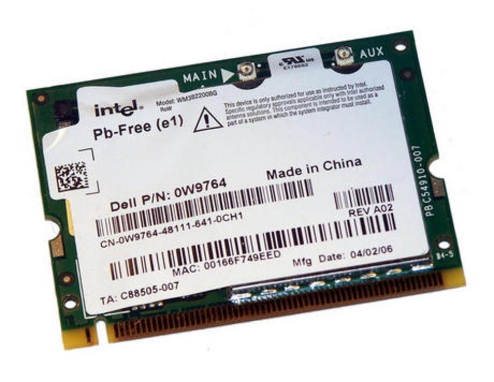 Dell W9764 WLAN Mini PCI Card Intel WM3A2200BG WiFi 54Mbps 802.11b/g | 0W9764 Thumbnail 1