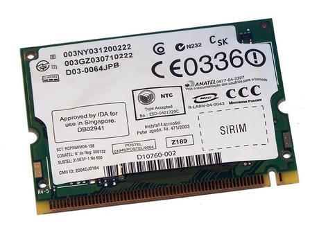 Dell W9764 WLAN Mini PCI Card Intel WM3A2200BG WiFi 54Mbps 802.11b/g | 0W9764 Thumbnail 2