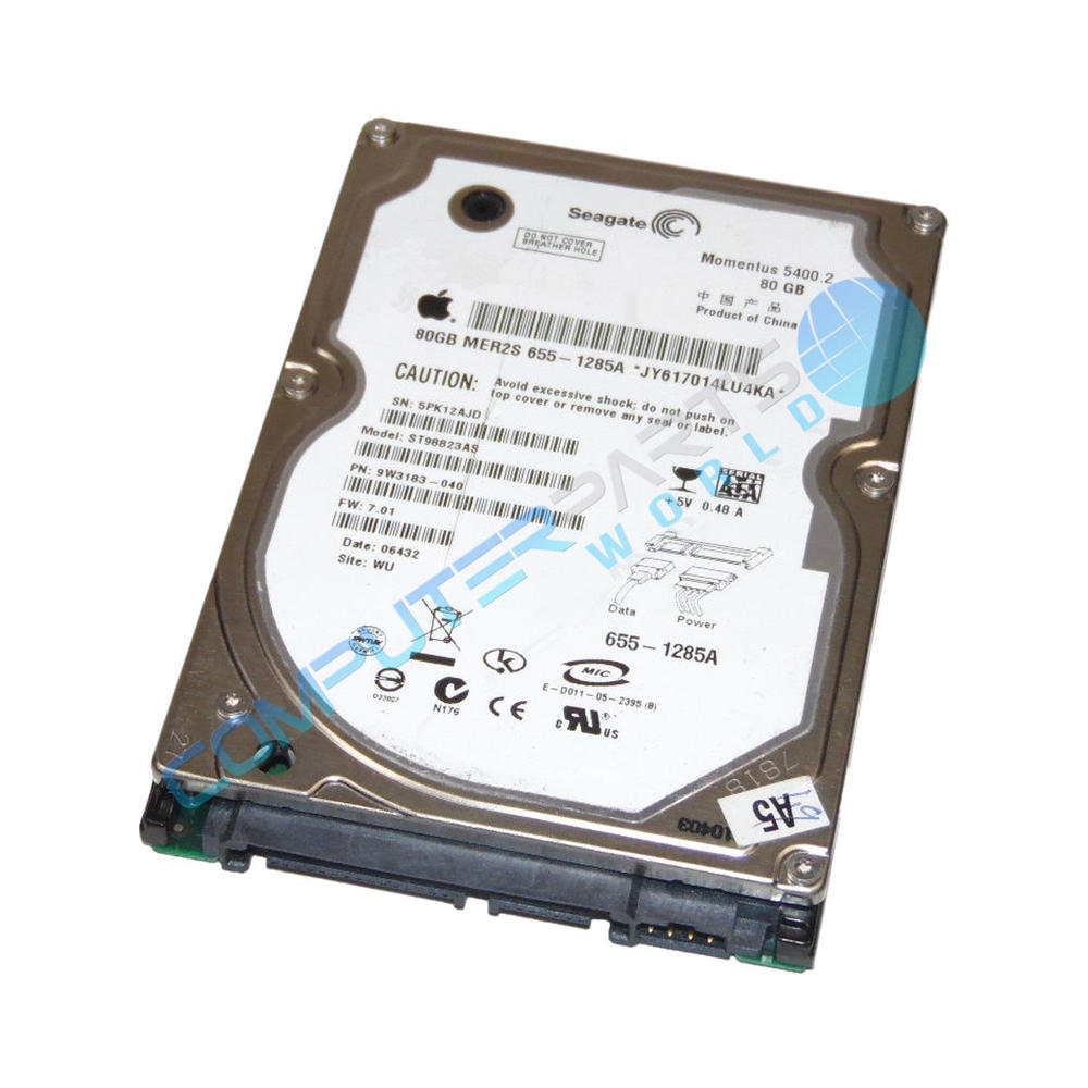 "Apple 80GB 2.5"" 5400RPM SATA Hard Drive 655-1285A ST98823AS"