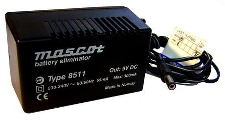 Mascot 8511 9VDC 2.7W 300mA AC Adapter w/Barrel Conector Thumbnail 1
