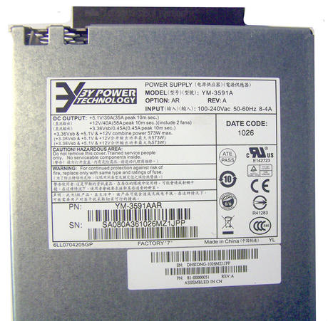 Fujitsu 81-00000051 FibreCAT SX100 573W Power Supply | 3Y Power YM-3591A Thumbnail 2