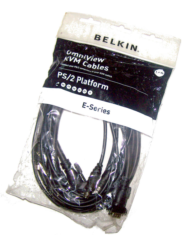 New Belkin F1D9000bea06 6' E-Series PS/2 OmniView KVM Cable