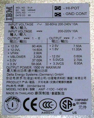 IBM 97P5676 eServer pSeries 9117 570 1500W Power Supply | Delta D0104194/16 Thumbnail 2