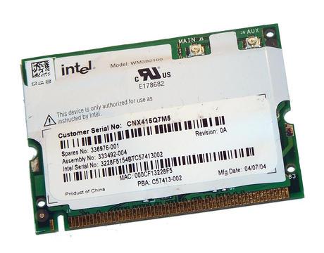 HP 333492-004 WLAN Mini PCI Card Intel WM3B2100 WiFi 11Mbps 802.11b Thumbnail 1