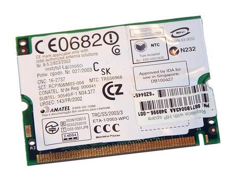 HP 333492-004 WLAN Mini PCI Card Intel WM3B2100 WiFi 11Mbps 802.11b Thumbnail 2