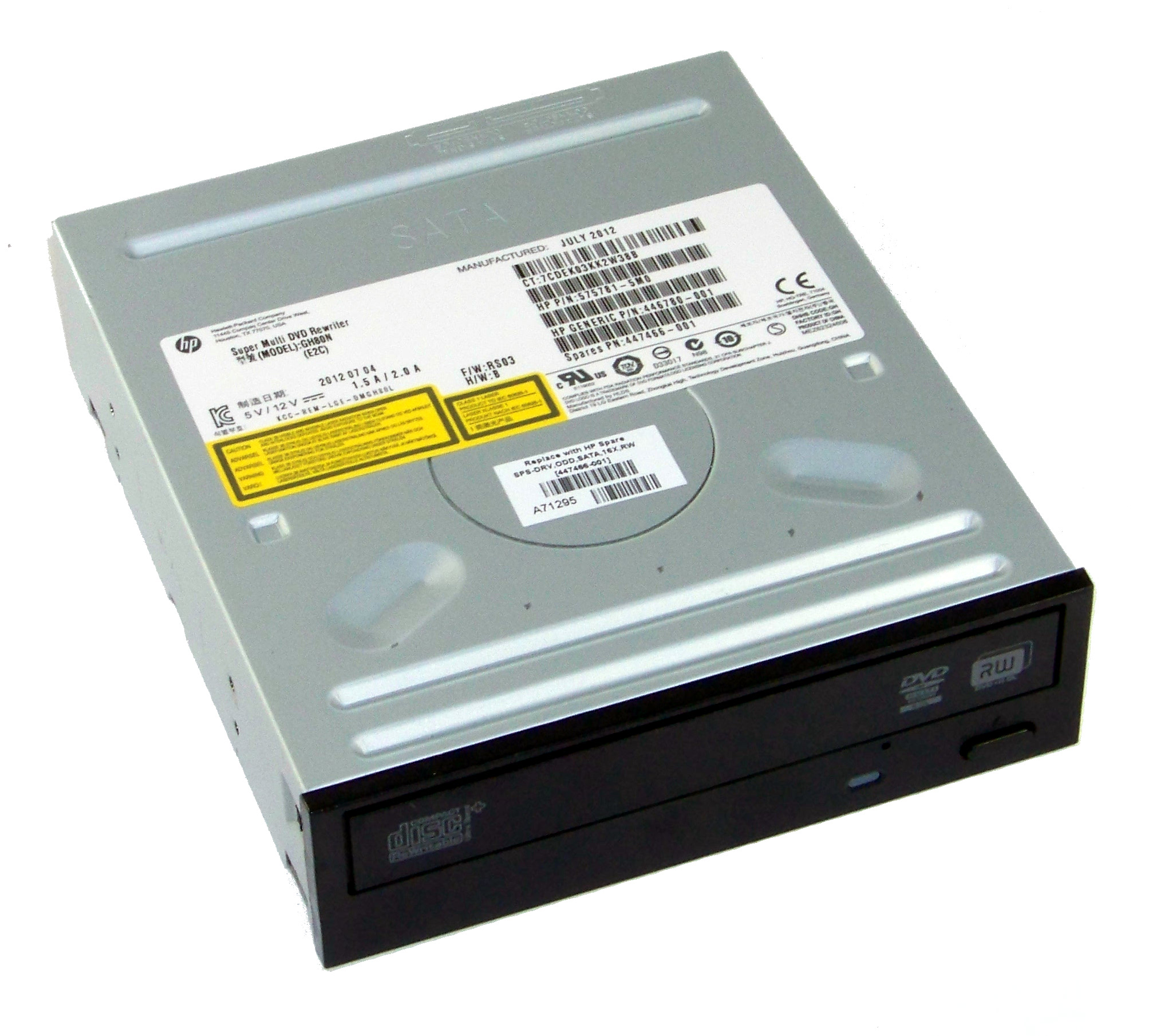 DVD//16X SATA DVD-RW OPTICAL DRIVE HALF HEIGHT FORM FACTOR HP PART#575781-5M0 HP