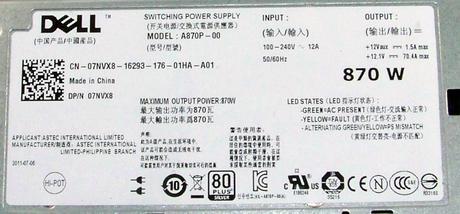 Dell 7NVX8 PowerEdge T610 870W Redundant Power Supply | 07NVX8 Thumbnail 2