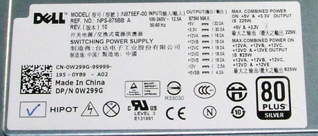 Dell W299G Alienware ALX R3 R4 Precision T5500 875W Power Supply | 0W299G Thumbnail 2