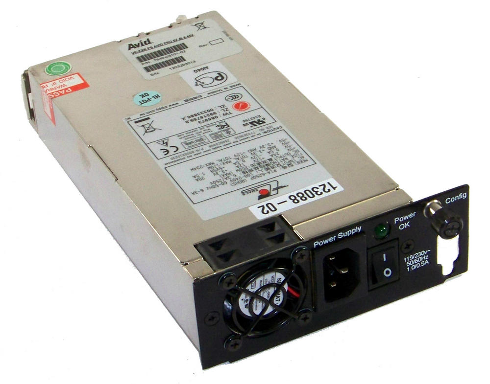 Avid 7840-03101-02 VR-RTR320X5 250W Redundant AC Power Supply | P1A-6250P