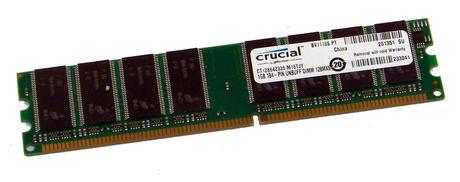 Crucial CT12864Z335.M16TJY (1GB DDR PC2700U 333MHz 184-pin DIMM) Memory Module