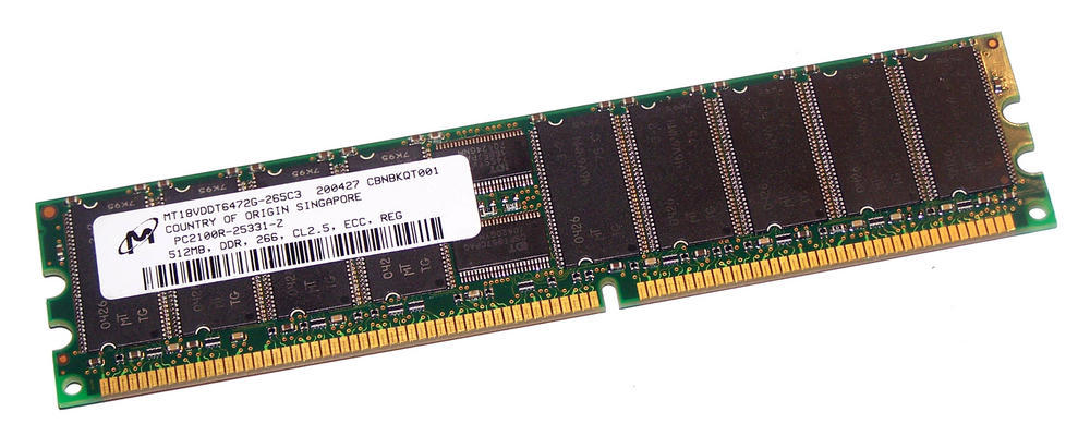 Micron MT18VDDT6472G-265C3 (512MB PC2100R ECC Registered Server 184-Pin DIMM)