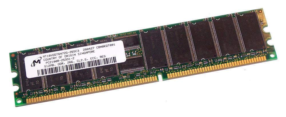 Micron MT18VDDT6472G-265C3 (512MB PC2100R ECC Registered Server 184-Pin DIMM)