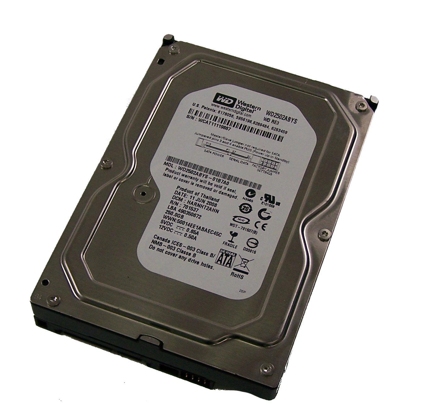 """WESTERN DIGITAL WD2502ABYS 01B7A0 WD RE3 250GB 7200 RPM SATA 3.5/"""" DRIVE"""